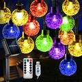 Solar String Lights, 36ft 60 LED Outdoor Solar String Lights, Solar Powered/USB with Remote, 8 Modes Waterproof Solar String Outdoor Lights for Christmas, Party, Patio, Home, Garden, Yard (Colorful)