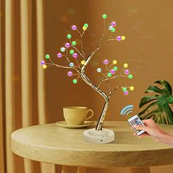 """KIKILIVE Bonsai Tree Lights -18"""" RGB Tabletop Pearl Tree Lights with Remote Control, USB/Battery Operated 36 LED Fairy Lights Tree lamp with Multi Color for Christmas Party Home Decoration"""