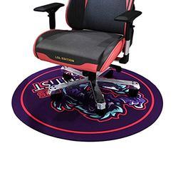 HYLFF Cartoon Swivel Chair Mat for Hardwood Floor, Round Floor Mats for Computer Desk Gaming Chair, Anime Pattern Anti-Slip Floor Protector,Purple,160cm