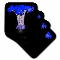 3dRose Ceramic Tile Coasters - Radiant Blue Daffodils in Vase - set of 4 (cst_9391_3) Ceramic in Black/Blue, Size 4.0 H x 0.25 D in | Wayfair