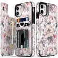"""LETO iPhone 11 Case,Luxury Flip Folio Leather Wallet Case Cover with Fashion Floral Designs for Girls Women,Built-in Card Slots Kickstand,Protective Phone Case for iPhone 11 6.1"""" Champagne Flowers"""