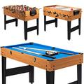 "LDAILY Moccha 3-in-1 48"" Combo Game Table, Multi Game Table with Soccer, Billiard, Slide Hockey, Fun Wooden Game Table for Family, Home, Game Rooms, Arcades, Bars, Parties"
