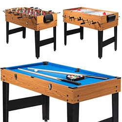 """LDAILY Moccha 3-in-1 48"""" Combo Game Table, Multi Game Table with Soccer, Billiard, Slide Hockey, Fun Wooden Game Table for Family, Home, Game Rooms, Arcades, Bars, Parties"""