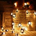 2 Strings Set, Lantern String Lights 9.8ft of 40 LED Lights Mini Vintage Halloween Decorative Kerosene String Lights for Patio Garden Home Holiday Decoration, Warm White Light(Black)