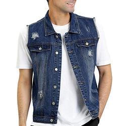 Lars Amadeus Men's Retro Ripped Denim Vest Sleeveless Punk Rock Trucker Jean Vest Jackets X-Large Blue
