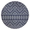 KAVKA DESIGNS Hard Floor Straight Round Chair Mat in Blue/White, Size 0.08 H x 60.0 W x 60.0 D in   Wayfair MWOMT-17299-5X5-JLJ083