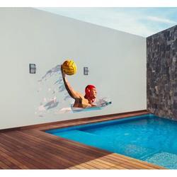Red Barrel Studio® Polygonal Water Polol Wall DecalVinyl in Orange/Black/Brown, Size 33.0 H x 62.0 W in   Wayfair 53DAA881DA844E7782199D75D271111B