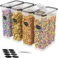 Prep & Savour Cereal Airtight 4 Container Food Storage Set Plastic in Black, Size 9.4 H x 4.5 W x 9.4 D in | Wayfair