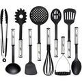 KALUNS 10-Piece Assorted Kitchen Utensil Set Nylon/Stainless Steel in Black | Wayfair K-CUS10