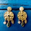 Anthropologie Jewelry | Anthropologie Gold Tone Chandelier Earrings | Color: Gold/Green | Size: Os