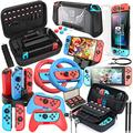 HEYSTOP Compatible with Nintendo Switch Case 25 in 1Switch Accessories Gift Kit Protective Case Screen Protector Thumb Grip Cap Joycon Charger Wheel Grip TPU Case PlayStand Game Card Box Epic Pack