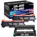 Go4Color Compatible Toner Cartridges & Drum Unit Replacement for Brother DR630 DR-630 TN660 TN-660 Toners use with Brother HL-L2300D MFC-L2680W MFC-L2740DW Printer (1x Drum + 2X Toner, 3-Pack)