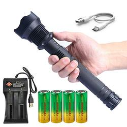 Super Bright XHP70 LED Rechargeable Flashlight 3 Modes High Lumens Zoom Torch Light with 26650 Rechargeable Battery USB Cable Charger Power Indicator
