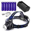 Tactical Zoomable 3 Modes Super Bright LED Rechargeable Headlamp,2000 Lumen Head Lamps,USB Rechargeable Headlamps with 6PCS 3.7V 18650 Rechargeable Battery for Hunting,Tactical,Outdoor & Indoor