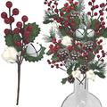 Holiday Red Berries and Pinecones Picks - Set of 9 Assorted Styles White Jingle Bells, White Cottonwoods, Green Pine Needles - Christmas Floral Sprays Wreaths Garlands DIY Crafts - Snow Flocked