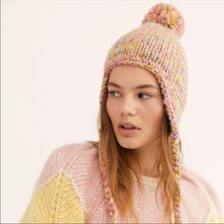 Free People Accessories   New Free People Fox Trot Knit Trapper Hat   Color: Orange/Pink   Size: Os