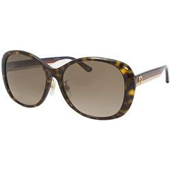 Gucci GG0849SK 003 Sunglasses Women's Havana-Blue/Brown Gradient Lens Round 59mm
