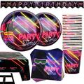 102 Piece Glow In The Dark Theme Party Supplies Set Including Banner, Plates, Cups, Napkins, and Tablecloth, Serves 25, (Does NOT actually glow in the dark)