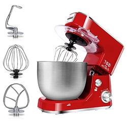 Stand Mixer, Cusimax Dough Mixer Tilt-Head Electric Mixer with 5-Quart Stainless Steel Bowl, Dough Hook, Mixing Beater and Whisk, Splash Guard, Red Food Mixer