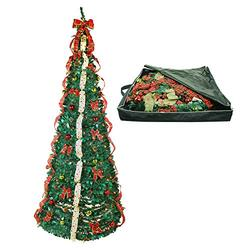 Top Treasures Fully Decorated Pop Up Christmas Tree | Pre lit Instant Pull Up Christmas Tree with Storage Bag (9ft)