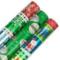 JAM PAPER Assorted Gift Wrap - Christmas Wrapping Paper - 75 Sq Ft Total - Christmas Extravaganza Set - 3 Rolls/Pack
