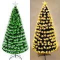 Pre-lit PVC Artificial Christmas Tree with Fiber Optic LED, for Xmas Holiday Home Indoor Decoration, Foldable Metal Stand 5ft/6ft/7ft (Green, 5ft)