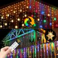 Led Snowflake Icicle Lights Christmas Lights Outdoor Color Changing Window Curtain String Fairy Light for Indoor House Window Home Wall Patio Yard Garden Porch Holiday 360 Led 40ft 8 Modes