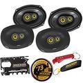 Kicker 46CSC6934 CS Series Coaxial Speakers 2-Pairs Bundle with Kicker Swag Bag. 6 by 9 Inch 3-Way EVC Speakers, 150 Watt RMS, 450 Watt Peak, Grilles Included, Fits Most Cars, 6x9