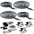 """MP22YA Electric Range Burner Coil Element Unit Set(2 pcs MP15YA 6"""" and 2 pcs MP21YA 8"""") with 4 Pack 330031 Surface Element Receptacle Kit Replacement Compatible for Whirlpool Ranges/Stoves"""