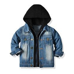 JMOORY Baby Boys Denim Jacket Kids Toddler Zipper Hoodie Jeans Jacket Top(120/4-5T, Black)