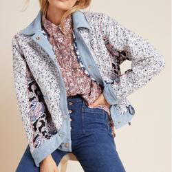 Anthropologie Jackets & Coats | Denim-Trimmed Reversible Patchwork Jacket Blanknyc | Color: Blue/White | Size: Xs