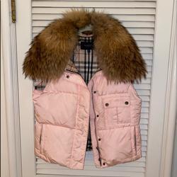 Burberry Jackets & Coats   Burberry Detachable Fur Collar Vest   Color: Brown/Pink   Size: M