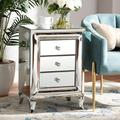Baxton Studio Pauline Contemporary Glam and Luxe Mirrored 3-Drawer Nightstand - Wholesale Interiors RXF-2441-NS