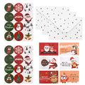 Kisangel 24 Sets Christmas Greeting Cards Sets Cartoon Santa Elk Blessing Cards with Envelopes Label Sealing Stickers for Holiday Festival Party Favor