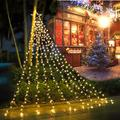 PUHONG Christmas Decoration Star Lights Outdoor,317 LED 16.4Ft Christmas Tree Toppers String Lights[8 Modes& Waterproof] for Halloween Xmas New Year Holiday Birthday(Iron) (Warm White)