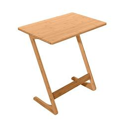 Bamboo Sofa Side Table,End Table TV Tray Bamboo Snack Table Laptop Desk Night Stand Couch Moveable Stand in Living Room for Eating Reading Working Home Office Furniture (Wood Color, Z-Shaped)