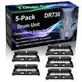 5-Pack (Black) Compatible HL-L2370DWXL DCP-L2550DW MFC-L2710DW Black Drum Unit (High Yield) Replacement for Brother DR730 DR-730 Drum Unit (12,000 Pages)