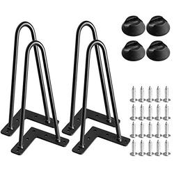"""12"""" Heavy Duty Hairpin Legs, Dveda 4 Pcs Black Metal Furniture Feets, Home DIY Projects Hairpin Table Legs for Table, Coffee Table Leg, Couch Legs, with Screws & 4 Pcs Bonus Rubber Floor Protectors"""