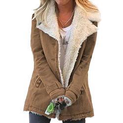 Dokotoo Womens Winter Coats Long Sleeve Jean Denim Fleece Jacket Autumn Collar Button Down Cozy Fluffy Cardigans Sherpa Pocketed Jackets Warm Outerwear Khaki Small