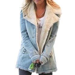 Dokotoo Womens Winter Coats Fashion Jean Denim Jackets Long Sleeve Fleece Jacket Oversized Collar Button Down Sherpa Open Front Cardigans Outerwear Sky Blue Large