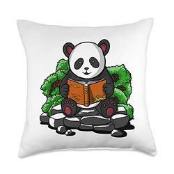 Panda Cartoon Adventures Clothing Panda Bear Reading Books Funny Animal Boys Girls Kids Throw Pillow, 18x18, Multicolor