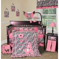 Pink Zebra Crib Nursery Bedding Set 12 Pieces + Lamp Shade + Music Mobile - by Sisi Baby Designs