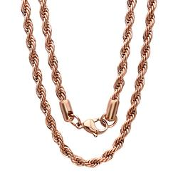 Steel Time Women's Necklaces rose - 18k Rose Gold-Plated Rope Necklace