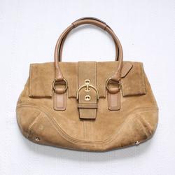 Coach Bags | Coach Tan Suede Leather Shoulder Bag Foldover Flap | Color: Gold/Tan | Size: Os