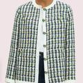 Kate Spade Jackets & Coats | Kate Spade- Pop Tweed Jacket | Color: Green/White | Size: 14
