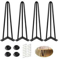 """ALXEH 16 Inch Hairpin Table Legs 1/2"""" Dia 3-Rods Hairpin Feet, DIY Black Hairpin Coffee Table Legs Heavy Duty Metal Furniture Leg for Side Table, Bench and Nightstand, Set of 4"""