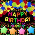 Glow in The Dark Birthday Party Supplies Decorations, Happy Birthday Banner, Neon Star, Circle Dots Paper Garland Banner Hanging Decorations, Neon Star Foil Balloons, Blacklight Fluorescent Balloons Perfect for Neon Black Lights Party TD095