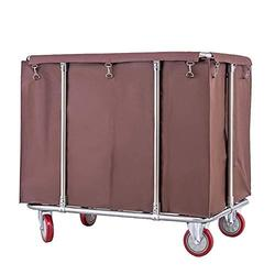 LY Laundry Cart Commercial, Heavy Duty Linen Cart On Wheels, Commercial Hospital Dirty Rolling Laundry Cart, Rectangle Collecting Cart for Hotel, 400L Capacity (Color : Brown)