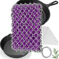 Herda Cast Iron Skillet Cleaner - Chainmail Scrubber Set for Cast Iron with Bamboo Wash Cloth, 316 Stainless Steel Chain Metal Skillet Scraper Pan Brush Tool Kit for Grill Pan, Iron Skillet (Purple)