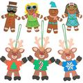 Christmas Crafts Kit For Kids Bulk (24 Pack) Foam Reindeer Crafts Ornaments with Silly Gingerbread Magnet - Fun Holiday DIY Project Party Activities, Arts & Crafts. Xmas Party Favors, 4E's Novelty